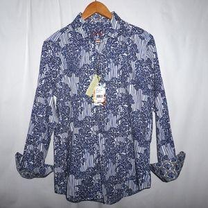 NWT Robert Graham floral paisley flip cuff shirt S